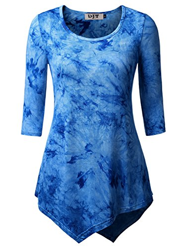DJT Femme T-shirt Tie-dyed Manches 3/4 Col Rond Tops tombe bien Bleu