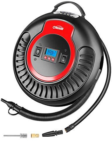 oasser Compressore Portatile per Auto Aria Mini Pompa Multifunzione P3 12V 2000mAh Gonfiatore Wireless con 3 Ugelli per Pneumatici, Letti ad Aria, Palloni e Gonfiabili
