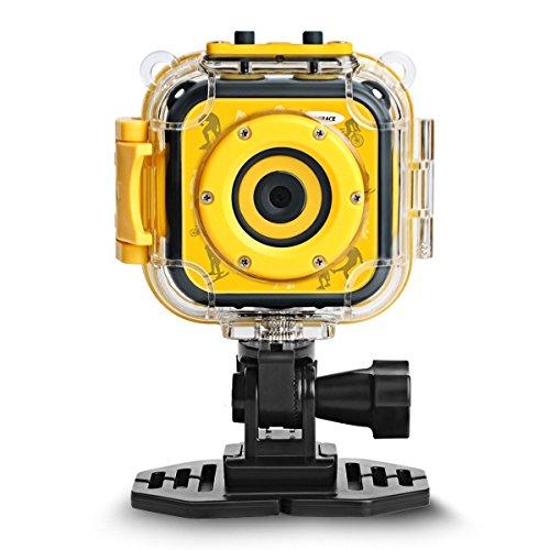 DROGRACE Digitalkamera Kinderkamera Video Kamera Wasserdicht Action Cam Unterwasserkamera Helmkamera Einsteigerkamera für Kinder Geburtstagsgeschenk Urlaubsbegleiter mit 1.77 Zoll Bildschirm (Gelb)