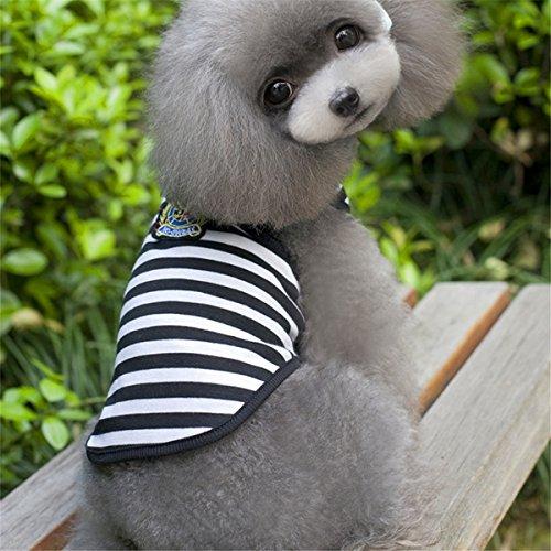 Aus Haushaltsgegenstände Kostüm - EgBert Baumwollgestreifte Kleine Tierpuppy Hund T Shirt Weste Sommerkleidung Sommerkleidung Kostüm - Schwarz - M