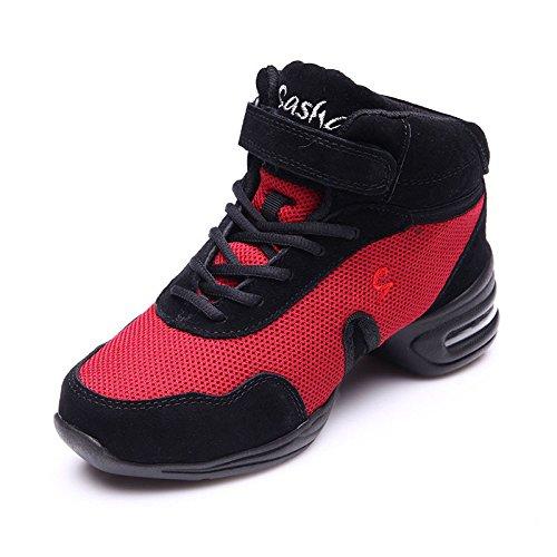 ZQ@QXUna morbida a fondo piatto con grandi dimensioni scarpe di tela dance square dance scarpe e calzature Red Net