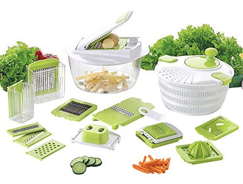 Coninx 18 in 1 Multischneider und Salatschleuder - Gemüsehobel Gemüseschneider Gemüse und Obst Schneiden, Raspeln, Zerkleinen, Mandoline Gemüseschneider Kartoffelschneider Gemüsehobel Gemüsereibel