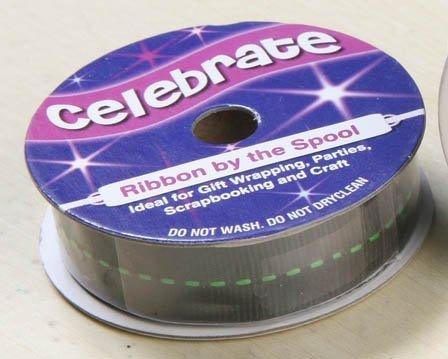 Celebrate RA19715/43 | Black w/Lime Green Centre Grosgrain Ribbon | 4m x  15mm by Celebrate Ribbon