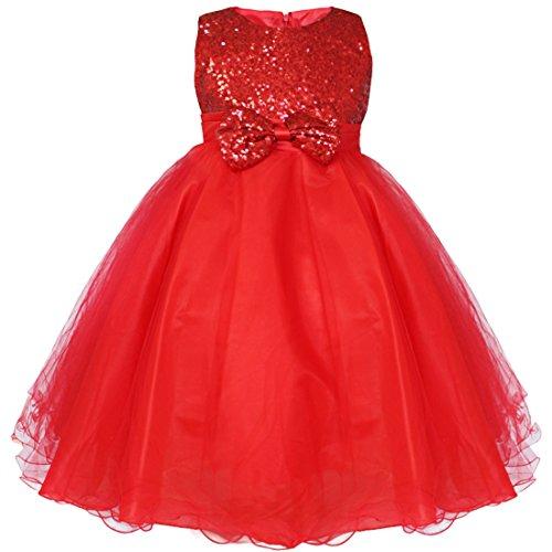 iEFiEL Mädchen festlich Kleid Hochzeit Festkleid mit Pailletten für Kinder Prinzessin Kleid Kostüm Partykleid 92-164 Rot 104 (Rote Prinzessin Kostüm)