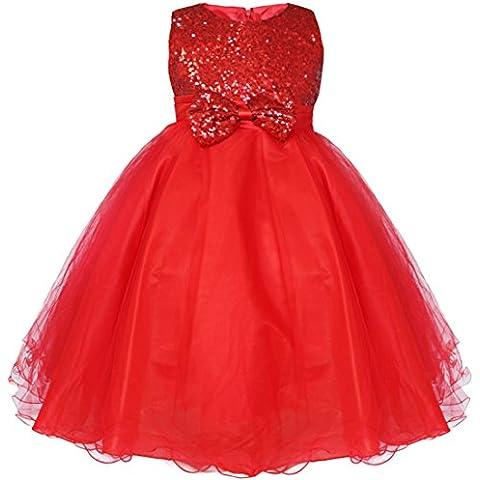 iEFiEL Vestido Elegante de Princesa para Niña de Ceremonia Vestido Largo de Fiesta con Lentejuelas