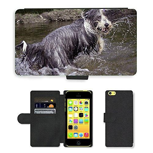 Just Mobile pour Hot Style Téléphone portable étui portefeuille en cuir PU avec fente pour carte//m00138686Bearded Collie humide pour chien hilarant//Apple iPhone 5C