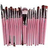 SHOBDW Pinceaux Maquillage Cosmétique Professionnel Cosmétique Brush Beauté Maquillage Brosse Makeup Brushes Cosmétique Fondation avec Sac Abordable, 20pcs Set/Kit Rose Or Violet (Rose)