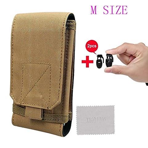 xhorizon TM MSH Taille M 1000D étui Sacoche Sac Poche Nylon tactique MOLLE randonnée voyage et crochet fixation de ceinture pour smartphone téléphone portable et accessoires outils+2 boucle de lacet