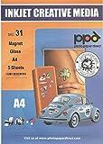 Photo Paper Direct Lot de 5 feuilles de papier magnétique pour imprimantes à jet d'encre Format A4