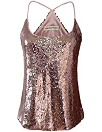 Anna-Kaci Womens Shimmer All Over Sequin Sparkle Spaghetti Strap Vest Tank  Top f1d44c288b