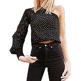 QingJiu Fashion Women Casual Sexy One Shoulder Short Dot Printed Tops T-Shirt Blouse