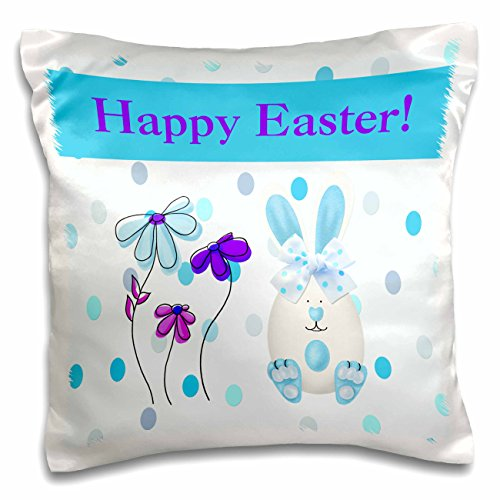 Beverly Turner Easter Design and Photography - Easter Egg Bunny Rabbit with Flowers on Dots, Blue, Purple, and Pink - 16x16 inch Pillow Case (pc_180878_1)