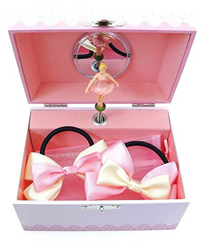 Schmuck Ballerina Box Kostüm - Lily & Ally Flower Ballerina Musical Children's Jewelry Box with Satin Ribbon Ponytail Holder Hairbows by Lily & Ally