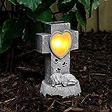 Festive Lights, lapide commemorativa per tomba, con cagnolino e LEDa energia solare con luce bianca calda, per esterni