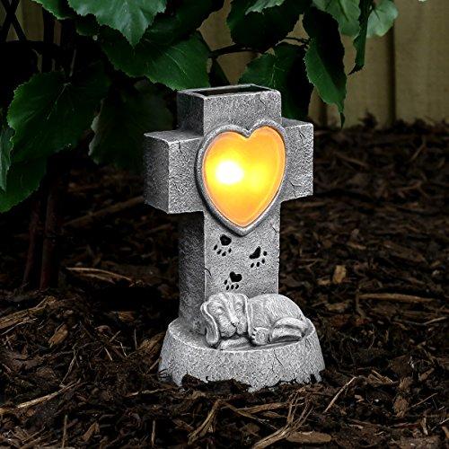 Festive Lights solarbetriebener, geschmackvoll, gediegen und liebevoll gestalteter Gedenkstein für Ihren Hund