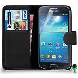 POUR Samsung Galaxy S4 Mini - SHUKAN Prime Cuir NOIR Portefeuille Cas Coque Couverture avec Mini Toucher Style Stylo VERT Cap Protecteur d'écran & Tissu de polissage