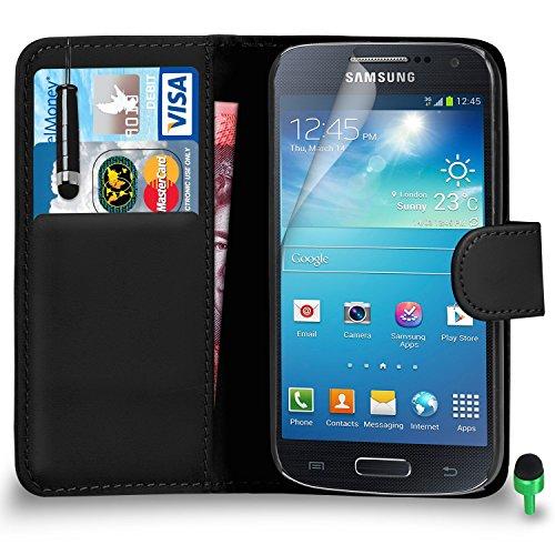 POUR Samsung Galaxy S4 Mini - SHUKAN® Prime Cuir NOIR Portefeuille Cas Coque Couverture avec Mini Toucher Style Stylo VERT Cap Protecteur d'écran & Tissu de polissage