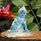 Collectible India Silver Plated Baby Krishna Statue Bal Krishan Laddu Gopal Idols Hindu Religious Showpiece Arts (Size: 4 X 3.5 Inches), Brother Gift For Raksha Bandhan, Rakhi Gifts For Brother And Bhabhi, Rakhi Gift For Bhaiya Bhabhi, Janmashtami Decor
