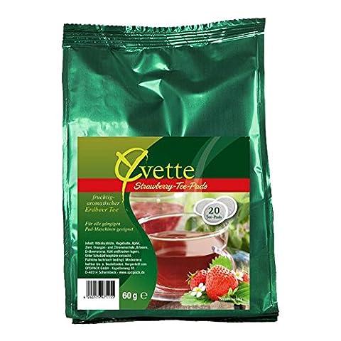 Yvette Strawberry Teepads, Teebeutel, Schwarzer Tee, passend für Senseo, 20 Pads