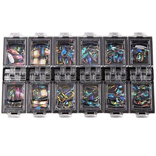 Crewell 12 Box/Set 3D Nail Art Bunte klare Kristall gemischte Größe Dame Nägel Tipps Decals Dekoration mit Aufbewahrungsbox Container (Tipps Aufbewahrungsbox)