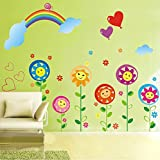 Ascent Decals 'Flower With Smiling Faces' Wall Sticker For Kids Room Bedroom (PVC Vinyl, 128 Cm X 118 Cm)