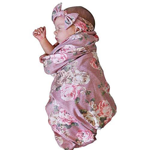 vap26 Bequem Baby Bettwäsche Empfangen Decke Set Stirnband Tragetuch Blumenmuster Süß Neugeborenes - Rosa, Free Size (Stirnband Filigranes)