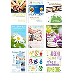Edition Seidel Set 9 Premium Karten zur Jugendweihe mit Umschlag (Doppelkarten/Klappkarten mit Briefumschlag) Karte Postkarte Jugendweihekarten
