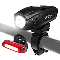 Set de luces recargables para bicicleta BV USB, faro delantero superbrillante y luz trasera para bicicletas, 1300 mah batería de litio, resistente al agua IP44, (cable USB incluido)