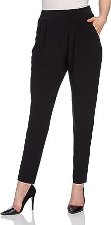Roman Originals - Pantaloni fluido, larghi comfort, elasticizzati, colore: Nero