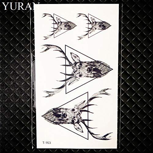 GHHCG Geometrische Wolf Tattoo Frauen Deer Horm Kleine Bleistift Skizze Tattoo Arm Aufkleber Panda Männer Brust Elch, Gt163