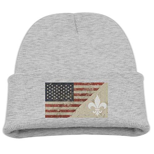 ADGoods Kids Children Fleur De Lis US Flag Beanie Hat Knitted Beanie Knit Beanie for Boys Girls Kinderbaseballmütze -