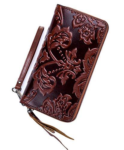 Xinmaoyuan Damen Geldbörsen Damen lange Abschnitt Retro Wind Blume Leder Zipper Wallet Holding Tasche, Braun (Vertikale Wallet Zipper)
