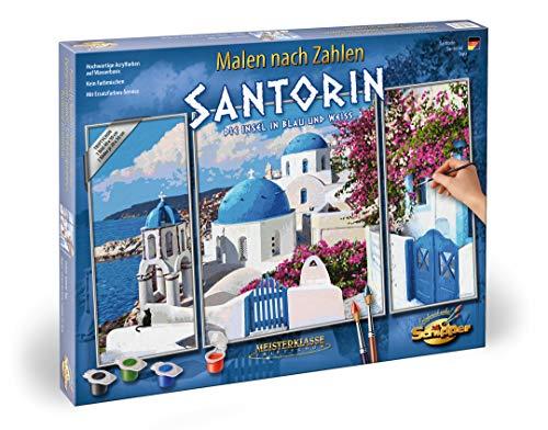 Schipper 609260783 Malen nach Zahlen - Santorin, Triptychon 50 x 80cm - Mono 40 Seiten In Farbe