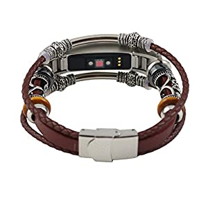 Bloodfin für Fitbit Alta/Fitbit Alta HR Armband, 22mm Leder Armbänder Einstellbare Ersatzarmband Lederarmband Uhrenarmbänder mit Metall Konnektoren Männer Frauen