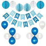 CRAZYDECO Geburtstagsdeko Jungen, Happy Birthday Girlande Blau, Geburtstagsdeko Blau, Happy Birthday Blau, Geburtstagsdeko Set, Iyiki Dogdun