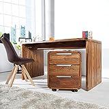 CAGÜ Exklusiver Design ROLLCONTAINER [DAIPUR] mit 3 SCHUBLADEN aus SHEESHAM Massiv Holz Gewachst 60cm, Neu!