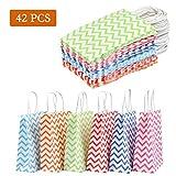 WOWOSS Lot de 42 Sacs Papier Kraft Couleur avec Poignées pour Bonbons Cadeaux ou Mariage, Sachet en papier Craft 120g 6 Couleurs avec Fond