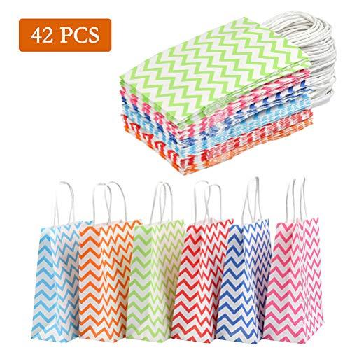 Wowoss 42 pezzi borse regalo carta colore, 6 colori sacchetti di regalo di carta kraft con manici, 22 * 16 * 8cm buste sacchetti carta per shopping, compleanno e matrimonio