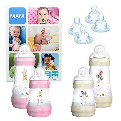 MAM Essential Bottle Set, regalos para bebés de +2 meses, con 2 biberones anticólicos Easy Start 260...