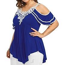 ... Blusa de mujer Detalle ... ❤ Camiseta para Mujer Talla Grande,Apliques con Cuello en V de Manga Larga