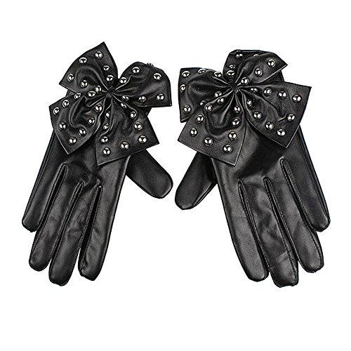 TOOGOO(R) Black Fashion lady gaga grossen Bogen Nieten Frauen Faux Leder Fingerhandschuhe Groesse (Lady Gaga Handschuhe)