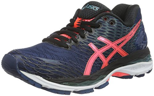 asics-womens-nimbus-18-running-shoes-blue-poseidon-flash-coral-black-55-uk