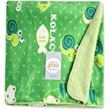 Baby Bucket AC Blanket BIG Size (Double Layer Velvet Fleece From 0 To 4 Years .Size:4 X 5 Feet Colour:Light GREEN Fish Theme)