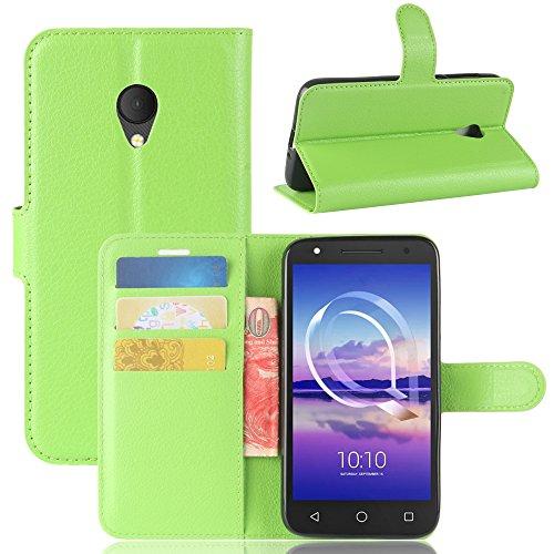 casefirst , Alcatel U5 HD Case Wallet Leather, Alcatel U5 HD Case with Card Holder and Kickstand, Alcatel U5 HD Wallet Case with Backcover, Backcover Case Cover for Alcatel U5 HD Green