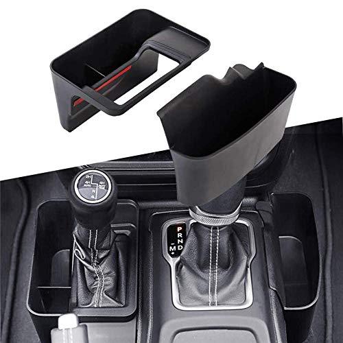 Consola de cambio de marchas Caja de almacenamiento lateral Caja de transmisión automática Organizador lateral Bandeja GearTray Accesorios interiores Negro para 2018-2020 Jeep Wrangler JL JLU
