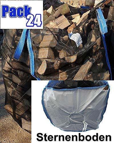 10 x TOP Premium BigBag für Brennholz Kaminholz Holzbag Woodbag Brennholzsack Netz Big Bag 100 * 100 * 160cm mit Sternboden
