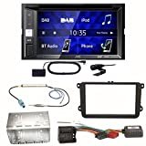 JVC KW-V255DBT USB Autoradio Touchscreen Bluetooth Moniceiver Autoradio DVD CD MP3 WMA DAB+ Digitalradio Einbauset für Golf 5 6 Passat 3C CC B7 Touran