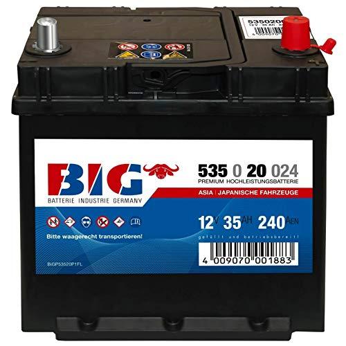 BIG ASIA Autobatterie 12V 35Ah Starterbatterie 53520 Pluspol rechts Dünnpol 40Ah