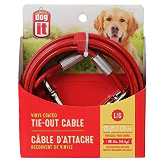 Avenue Tether Dog Tie-Out Cable, Large, 25-Feet, Red