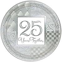 NANA 'S PARTY Envío rápido 25 años juntos platos de papel – Paquete de 8 unidades (25 años/plata Color aniversario)